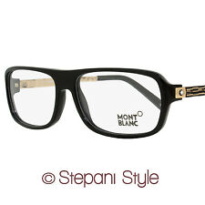 Montblanc Rectangular Eyeglasses MB445 001 Size: 56mm Black/Rose Gold 445