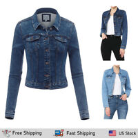 FashionMille Women's Stretchy Knit Comfy Denim Jean Jacket