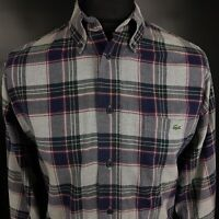 Lacoste Mens THICK Flannel Shirt 42 XL Long Sleeve Blue Regular Fit Check Cotton