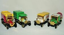 SET OF 4 CLASSIC TRUCKS 1912 MODEL T TANKER & AMBULANCE 1918 DELIVERY VAN NIB 4""