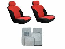 Polyester Red& Black Seat Covers w/ Silver Carpet floor Mats for Cars SUVS-Combo