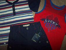 NWT Lucky Brand $62 Lot 2 Shirts Red Irish SHAMROCK/Navy CARGO Shorts Set 6 Boys