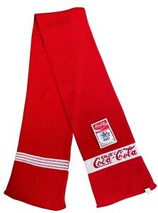 Vintage 1980 Winter Olympic Games Committee red scarf Coca Cola LA Taiwan