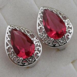 Hot Classical Ruby Red Pear Gems Jewelry Gold Filled Huggie Woman Earrings h2833