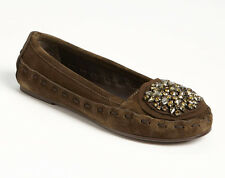 NEW VERA WANG FOOTWEAR Indigo Ballet Flat Shoes US 6/EU 36 Olive Suede/Crystals