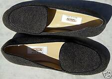 NEW TALBOTS GREY BLACK FABRIC LEATHER LOAFERS 6 ITALY