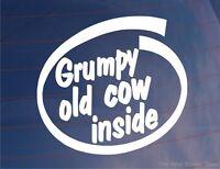 GRUMPY OLD COW INSIDE Funny Novelty Joke Car/Van/Window/Bumper Vinyl Sticker