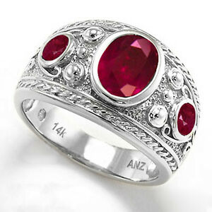 Men's Genuine 2.70 ct Ruby Ring 14k Solid White or Yellow Gold Ring 7 to 14
