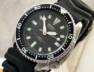 Seiko Classic Black Submariner Automatic Scuba Divers Date Watch Custom Mod 7002