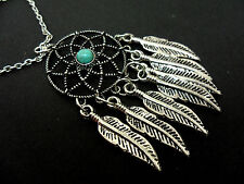 A LOVELY DREAMCATCHER TURQUOISE TIBETAN SILVER FEATHER  NECKLACE. NEW.
