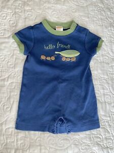 Gymboree Botanical Babies One Piece Blue Size 0-3 Months Embroidered Ants Hello