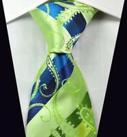 Hot Classic Paisley Stripe Green Blue JACQUARD WOVEN 100% Silk Men's Tie Necktie