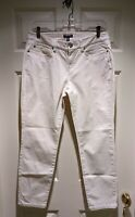 Eileen Fisher Textured Cotton Blend Stretch Cropped Jeans Pants Sz 8 Cream Beige