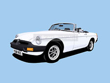 MGB ROADSTER CAR ART PRINT PICTURE (SIZE A4). PERSONALISE IT!