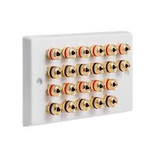 Speaker Wall Plate 11.0 22 Gold Binding Posts AV Audio Non-solder