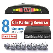 Car Front & Rear Reversing 8 Parking Sensors Buzzer Alarm Kit LED Display Silver