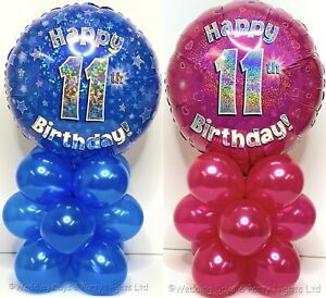 Happy 11th Birthday Foil Balloon Display Party Table Decoration No Helium Needed