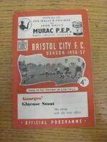 04/09/1956 Bristol City v Fulham  (Creased, Folded, Worn, Score Noted Inside). T