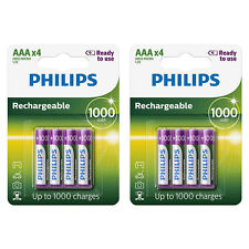8x Philips AAA 1000 mAh Pre Charged NiMH Rechargeable Batteries HR03 Dect Phone