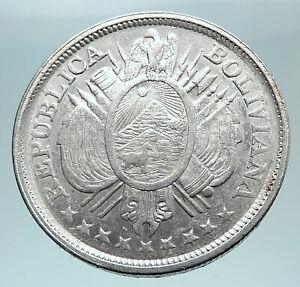 1893 BOLIVIA Antique Wreath Eagle Hill Genuine 50 Centavos Silver Coin i80978