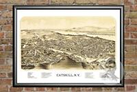 Old Map of Catskill, NY from 1889 - Vintage New York Art, Historic Decor