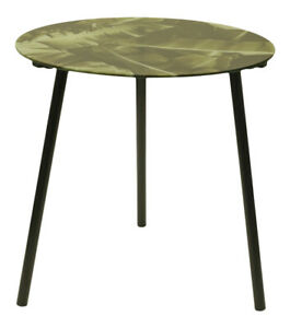 40cm Glass Round Side Table Leafy Floral Print Tray Top 3 Metal Leg Coffee Table