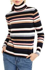 J. CREW Sz M Everyday Cashmere Stripe Turtleneck Sweater NWOT SOFT & ADORABLE