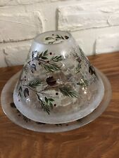 Yankee Candle Pinecone Crackle Glass Jar Shade & Plate Tray