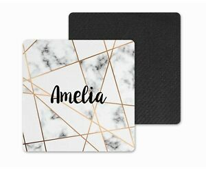 Personalised Coaster Gift..Grey Marble & Geometric Gold Design.Colleague/Friend