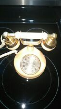 Vintage 1970's Western Electric French Style Rotary Phone Cream/Tan W/Gold Trim