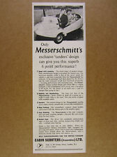 1959 Messerschmitt KR200 car microcar photo Cabin Scooters vintage print Ad