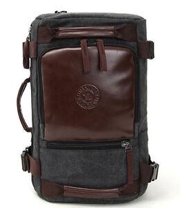 Mens Canvas Vintage Travel School Backpack Rucksack Laptop Satchel Shoulder Bag