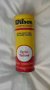 Vintage Wilson Championship Optic Yellow Tennis Balls Can (W/3 White Balls)