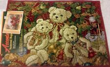 """TAPESTRY KITCHEN RUG (19 x 27"""") WINTER, TEDDY BEARS by THE CHRISTMAS TREE"""