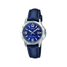 Casio LTP-V004L-2B Women's Blue Leather Band Blue Dial Date Analog Dress Watch