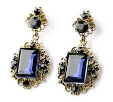 E654 Betsey Johnson Victorian Blue Gemstone Rhinestone Bridal Earrings UK