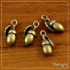 Bronze-tone Acorn charms ~PACK of 4~ 3D nature oak tree pendant bead jewelry