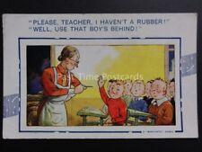 "Bamforth Comic Card: Teacher ""PLEASE TEACHER, I HAVEN'T A RUBBER!.."""