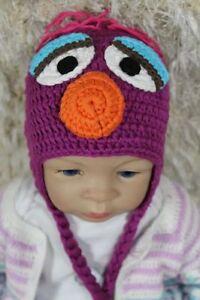 Handmade Knit Crochet Baby Hats Newborn Hat Cap Sesame Street Telly Monster Hats