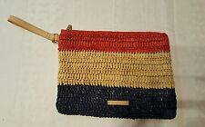 BCBG BCBGMAXAZRIA FRANCE FLAG WOMEN'S WRIST BAG CLUTCH STRAW HANDBAG BEACH NEW