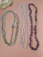 Handcrafted gemstones adventurine amethyst beads necklaces  lot boho tribal