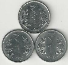 3 DIFFERENT 1 RUPEE COINS from INDIA - 2011, 2012 & 2013 (ALL MINT MARK N)