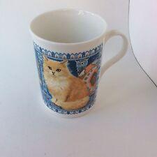 Cat Mug Red Tabby Fine Bone China Blue PaisleyCrown Trent England
