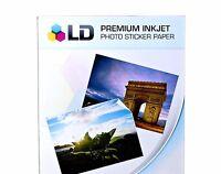 10 Sheets Sticker Paper GLOSSY White Inkjet Laser Printer Birthday Photo 8.5x11