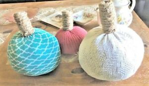 Sweater Pumpkins Lot of Three Handcrafted Country Primitive Decor Varied Sizes