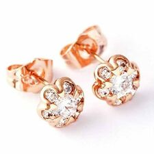 14K Solid Rose Gold Plated Clear Crystal Tiny Flower Womens Infant Stud Earrings