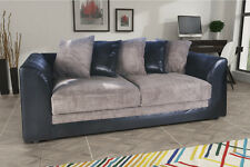 Dylan 3 Seater Sofa In Black & Grey Jumbo Cord Fabric - New Quality Cheap Sofas