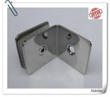 SHOWER SCREEN  CHROME 304 STAINLESS GLASS CLAMP CLIP BRACKET HOLDER 90DEGREE 3MM