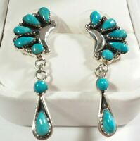 """925 STERLING SILVER CLUSTER DANGLE TURQUOISE 1 11/16"""" POST EARRINGS"""