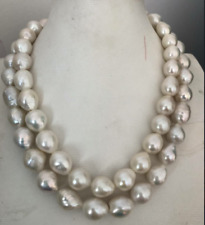 gorgeous 12-13mm south sea baroque white pearl necklace 38inch 925s